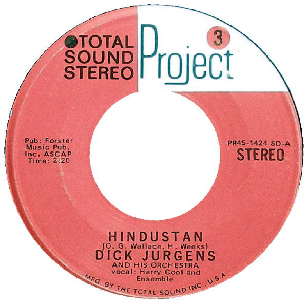 Dick Jurgens And His Orchestra - Hindustan / Always In My Heart