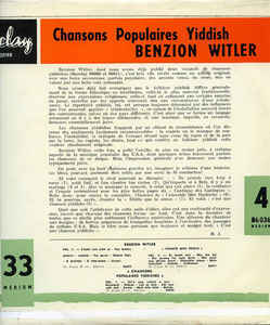 Benzion Witler - Chansons Populaires Yiddish Vol. 4