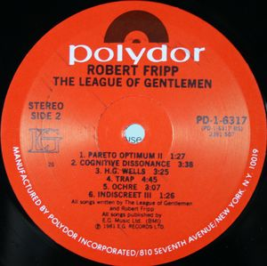 Robert Fripp, League Of Gentlemen, The  - The League Of Gentlemen cover of release