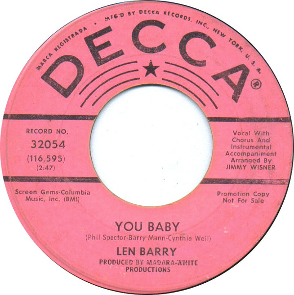 Len Barry - You Baby / Would I Love You?