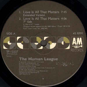 Human League, The - Love Is All That Matters cover of release